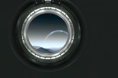 Saturn or alien planet view from spaceship Royalty Free Stock Images