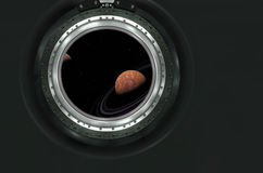 Saturn or alien planet view from spaceship Stock Photos