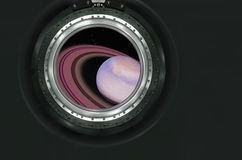 Saturn or alien planet view from spaceship Stock Image