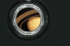 Saturn or alien planet view from spaceship Royalty Free Stock Image