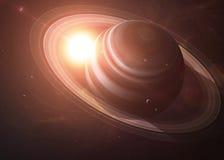 Saturn com as luas do espaço que mostra a tudo os Fotografia de Stock Royalty Free