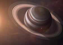 Saturn com as luas do espaço que mostra a tudo os Imagens de Stock Royalty Free