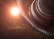 Saturn com as luas do espaço que mostra a tudo os Fotografia de Stock