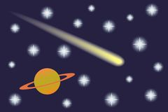 Saturn and Comet in the starry sky. Stock Images