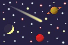 Saturn and Comet in the starry sky. Royalty Free Stock Photos
