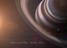 Saturn con las lunas del espacio que los muestra a todos Imagen de archivo libre de regalías