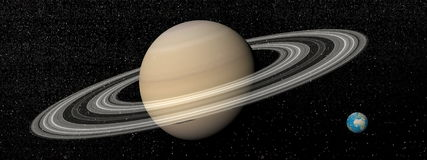 Saturn and earth - 3D render Stock Images