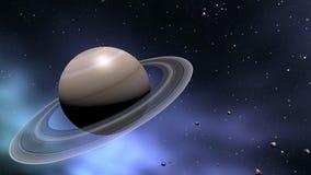 Saturn en de kometen alligned in ruimte vector illustratie