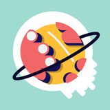Saturn flat design.ball. Saturn and ring flat design Stock Image