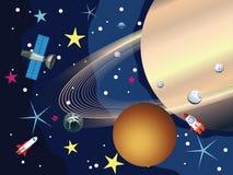 Saturn i utrymmet Arkivfoto