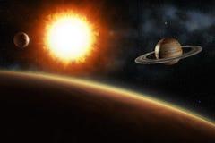 Saturn and jupiter orbiting the sun Stock Photography