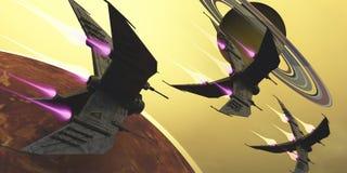 Saturn księżyc wybuch Fotografia Royalty Free