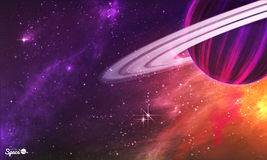 Saturn-like planet with asteroid belt on colorful outer space background. Vector illustration. Stock Photography