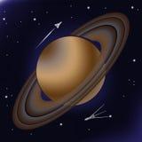 Saturn met zijn orbitale ringen van asteroïden Royalty-vrije Stock Foto's
