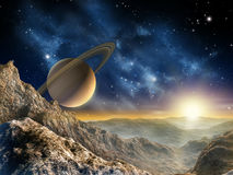 Saturn moon. Gorgeous spacescape as seen from one of Saturn moon. Digital illustration