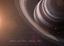 The Saturn with moons from space showing all they Royalty Free Stock Image