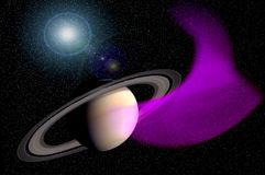 Saturn and Nebula. Saturn with purple nebula on star field is featured in this striking science fiction illustration Royalty Free Stock Photography