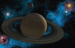 Saturn with nebula. A 3d design of a Saturn in the solar system with added nebula and stars Stock Images