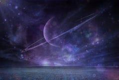Saturn at night. Saturn Planet Space Digital art Stars Stock Photo