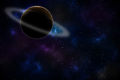 Saturn op Ruimteachtergrond/Saturn in Ruimte/Saturn op Ruimte Abstracte Achtergrond Stock Foto's