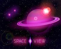 The Saturn in Open Space. The Saturn planet in open space. Vector background with space crafts Stock Photos