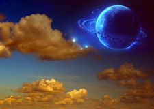 Saturn. A other worlds, fantasy, illustration Stock Photos
