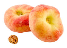 Saturn peaches, also known as Donut (Doughnut) peaches Stock Image