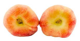 Saturn peaches, also known as Donut (Doughnut) peaches Royalty Free Stock Images