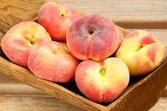 Saturn Peaches, known as flat Donut peach Stock Images