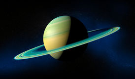 Saturn-planeet met ringen Bevolen aantal gebieden bij de horizon van belangrijke blauwe planeet Stock Foto's
