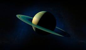 Saturn-planeet met ringen Bevolen aantal gebieden bij de horizon van belangrijke blauwe planeet Royalty-vrije Stock Fotografie