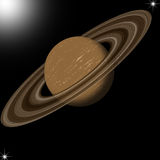 Saturn planet. In black starry background Stock Photography