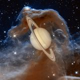 Saturn - Planet des Sonnensystems Elemente dieses Bildes geliefert von der NASA stockfotografie