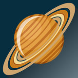 Saturn planet icon. With long shadow.  Space view and texture map of  the globe Saturn. Solar system. Cartoon vector illustration in flat style Royalty Free Stock Image