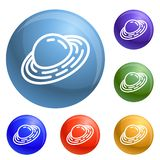 Saturn planet icons set vector royalty free illustration
