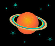 Saturn Planet illustration. The planet Saturn surrounded by stars over black background. Vector file available Royalty Free Stock Image