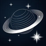 Saturn planet line drawing in space  Stock Photo