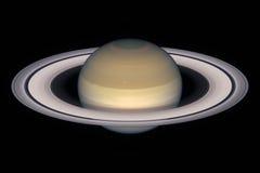 Saturn-Planet, lokalisiert auf Schwarzem Stockbild