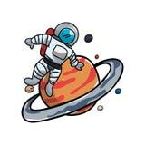 Saturn-Planet mit Astronauten stock abbildung
