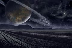 Planet Saturn Galaxy. Saturn planet solar system with stars in 3D illustration background Royalty Free Stock Photos