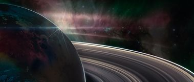 Free Saturn Planet With Rings In Outer Space Stock Photos - 129247583