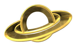 Saturn platet symbol in gold - 3d made Royalty Free Stock Images