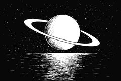 Saturn Reflecting On Water Stock Photo