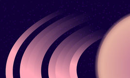 Saturn Rings on starry background. Flat style space exploration illustration. Royalty Free Stock Image