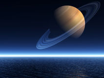 Saturn Rising over Ocean - Landscape Mode Royalty Free Stock Photography