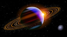 Saturn In Space. Saturn planet in dark space with a small planet next to it Royalty Free Stock Images