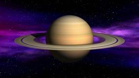 Saturn on space nebula background