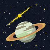 Saturn in the space. Saturn over he galaxy vector illustration graphic design Royalty Free Stock Photo