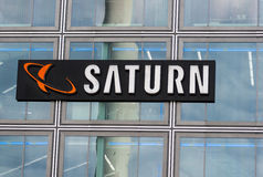 Saturn store logo. BERLIN, GERMANY - MAY 30, 2014:Saturn store logo. Saturn is a German chain of electronics stores, now found in several European countries Royalty Free Stock Photography