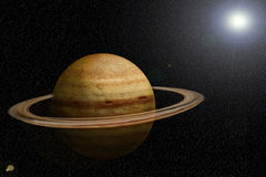SATURN. With the sun at the bottom Royalty Free Stock Photo